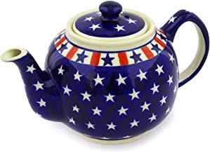 Polish Pottery 4 Cup Tea or Coffee Pot (Americana Theme) + Certificate of Authenticity