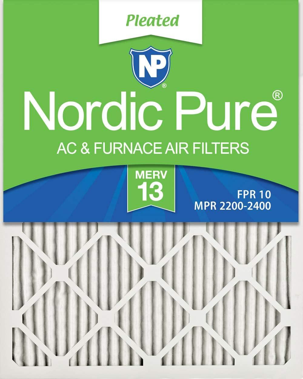 Nordic Pure 8x20x1 MERV 期間限定送料無料 13 Pleated キャンペーンもお見逃しなく Air AC Filters 2 Furnace Pack