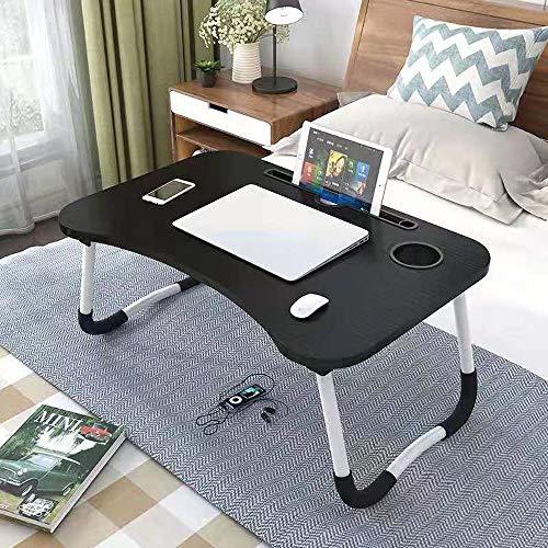 CellLucky Soporte Plegable portátil para Ordenador portátil, Mesa de Estudio, Escritorio de Madera Plegable para Ordenador para Cama, sofá, Mesa para Servir té(Negro,Porcelana)