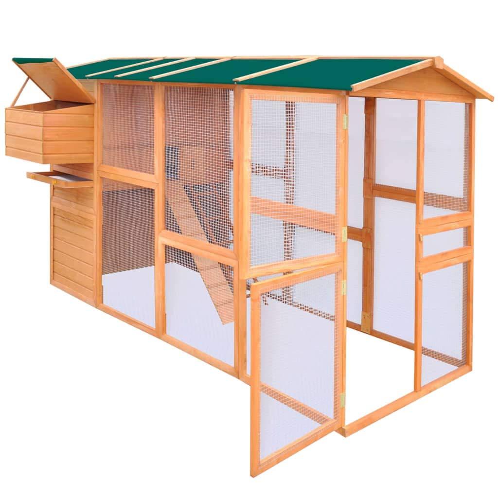 vidaXL Gallinero Material Madera Maciza Dimensiones 295x163x170cm Color Marron: Amazon.es: Jardín
