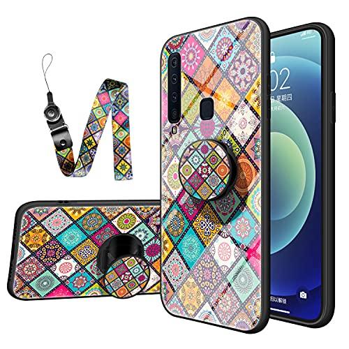 JZ Capa de vidro para Galaxy A9 com design de flor estilo nacional para Samsung A9 2018/A9 Star Pro/A9s com alça de pulso longa borda macia + capa traseira de vidro temperado - B