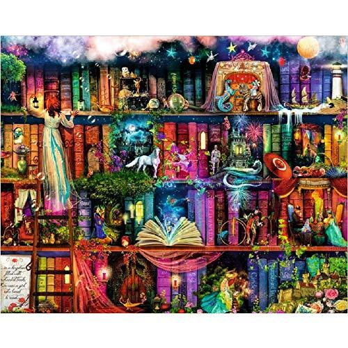 AZYVv Erwachsene Malen Nach Zahlen Kind DIY Ölfarbe Durch Anzahl-Wunderland Bücherregal-Art Personality Casual Games Lustiges Spielzeug Für Familienfreunde (Kein Rahmen)