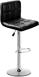 COSTWAY Bar Stool, Modern Swivel Armless Adjustable Barstools, Square Counter Height PU Leather Bar Stools for Kitchen Dining Living Bistro Pub Chair Counter Back Barstool(Black, 1 Stool)