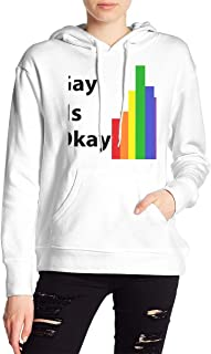VJJ AIDEAR Gay is Ok Women's Sweater Printed Hoodied Long Sleeve Coat
