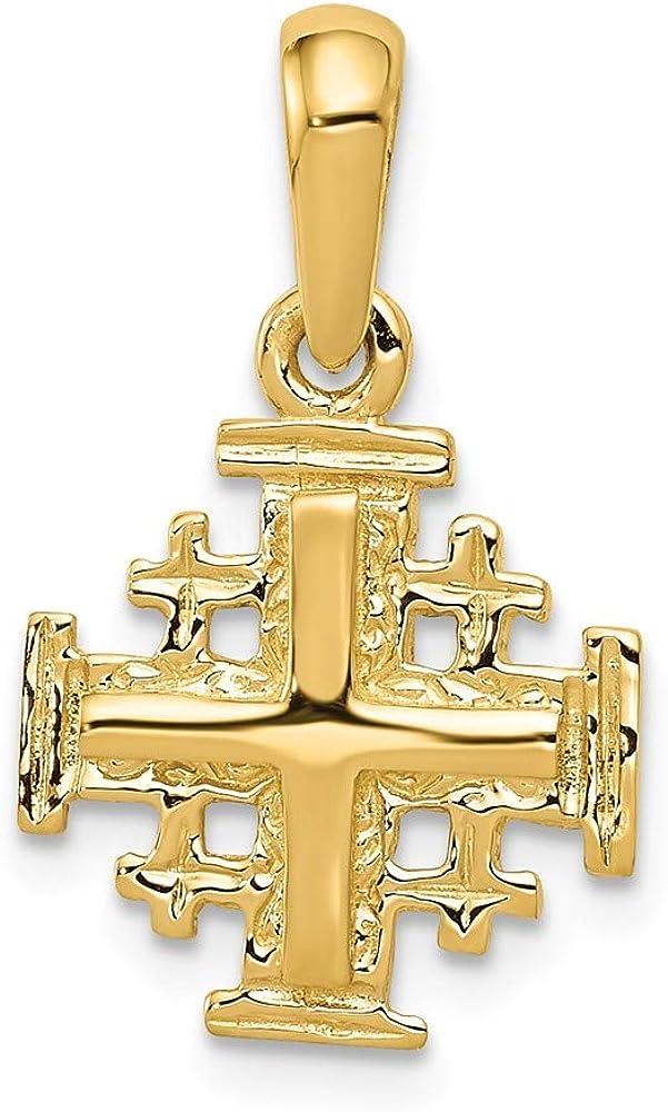 Solid 14k Yellow Gold Jerusalem Cross Charm Pendant - 23mm x 13mm
