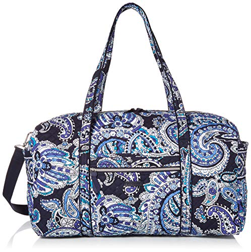Vera Bradley Women's Signature Cotton Large Travel Duffel Travel Bag, Deep Night Paisley, One Size