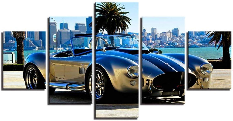 Felices compras ASDZXC Modular Impresión De La La La Lona Pintura Decoración para El Hogar 5 Unids Deluxe Sport Car Fotos Noche De Moda Fondo Arte De La Parojo Roadster Poster  venta caliente en línea