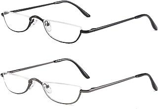 Half Frame Leesbril Lente Scharnieren voor Mannen Vrouwen Slanke Half Maan Lens Lezers Metalen Semi Randloze brillen