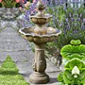 Small Solar Powered Water Feature Stone Effect Resin Two Tier Cascade Classic Fountain PC608