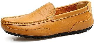 Zapatos de Cuero para Hombre Moda Casual Barco Zapatilla Antideslizante Durable Respirable Mocasines