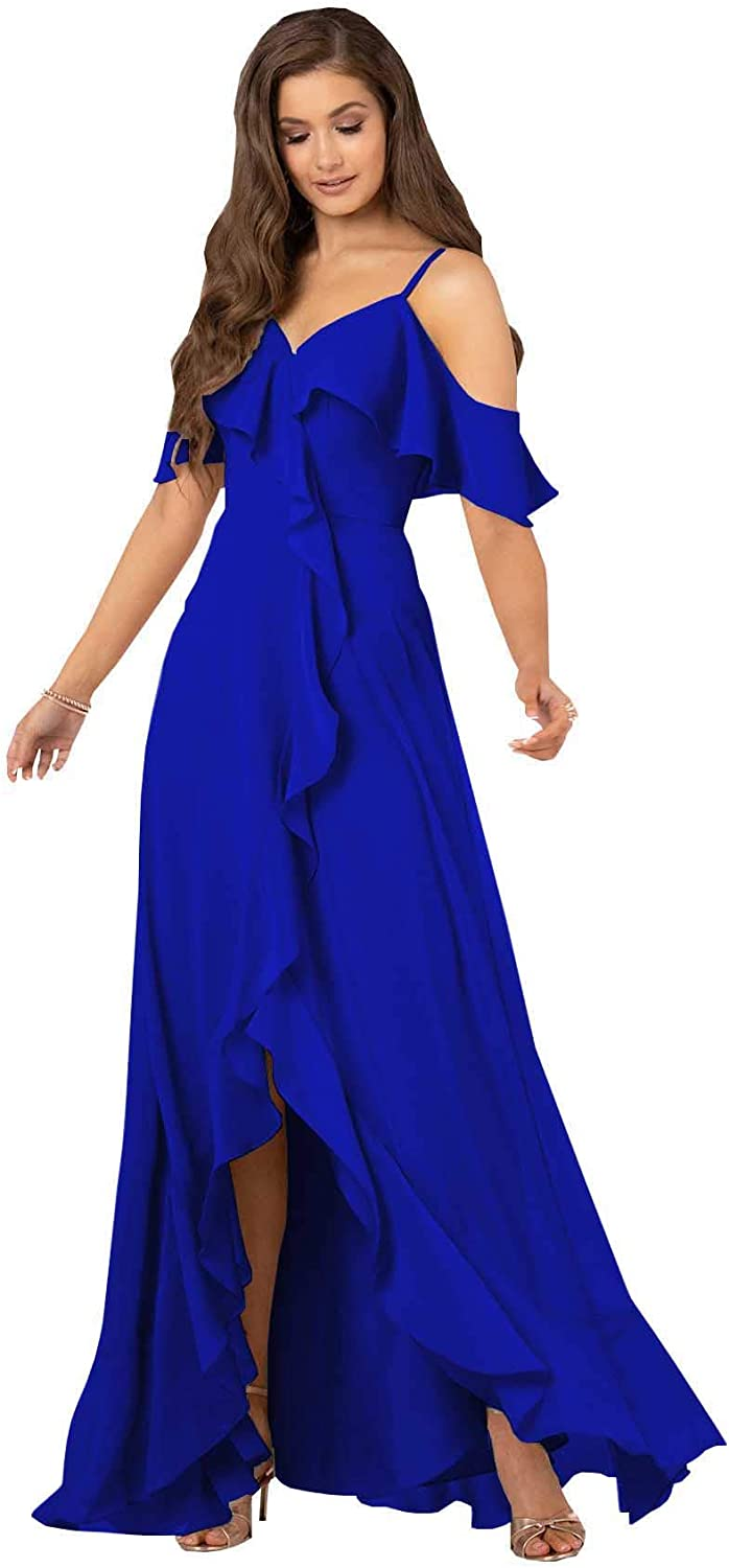 SOLODISH Women's Slit Long Chiffon Bridesmaid Dress A Line Fluttler Sleeves Formal Evening Party Gown