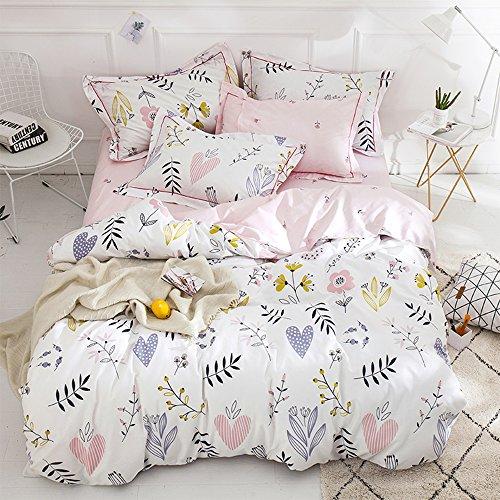 BuLuTu Floral Love Print Girls Duvet Cover Twin White/Pink Cotton Premium Blossom Kawaii Reversible Kids Bedroom Comforter Cover Bedding Sets for Teen Toddler,Breathable,Lightweight,Zipper Closure
