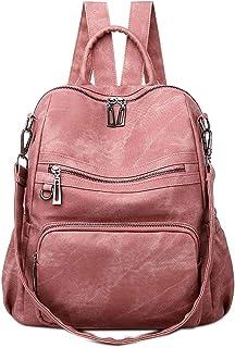 Neuleben Frauen Damen Rucksack Tasche Umhängetasche Daypack PU Leder Handtasche Schultertasche mit Diebstahlsicher Rucksacktasche Damentasche für Alltag Schule Uni Büro Reise Pink