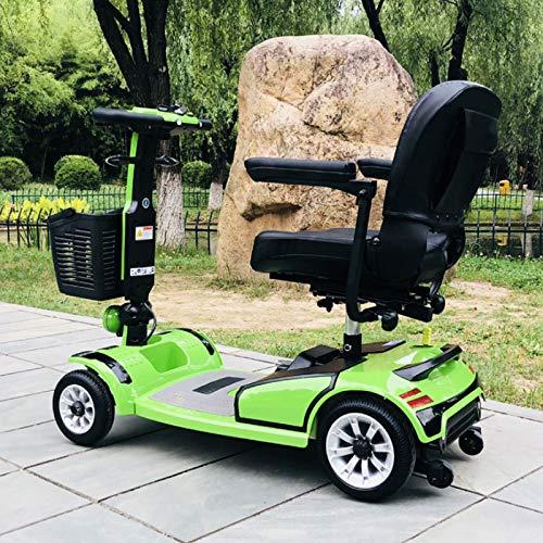 MILECN Scooter Eléctrico de 4 Ruedas para Personas,Scooter Motorizado Compacto Y Transportable - Scooter De Movilidad Motorizado para Adultos, Verde