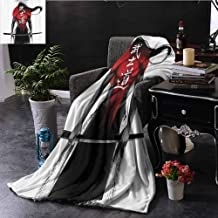Plush Throw Blanket, Suitable for Sofas,Chairs,beds Japanese Decor Collection Samurai Warrior Figure on Sunburst Background Ronin Japan Indigenous War Theme, 70