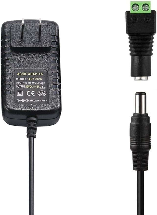 12V 2A Power Supply, COOLM AC 100-240V to DC 12V 2A Universal Adapter 2amp 24W 5.5x2.5mm DC Jack for CCTV Camera DVR Led Light Strip