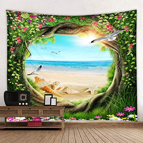 KHKJ Tree Hole Background Quality Mandala Indian Tapestry Wall Hanging Bohemian Yoga Mat Sandy Beach Throw Carpet A6 150x130cm