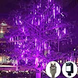 Rain Drop Lights, LED Meteor Shower Lights 11.8 inch 8 Tubes 144leds, Icicle Snow Falling Lights for Xmas Wedding Party Holiday Garden Tree Christmas Thanksgiving Decoration Outdoor (Purple)