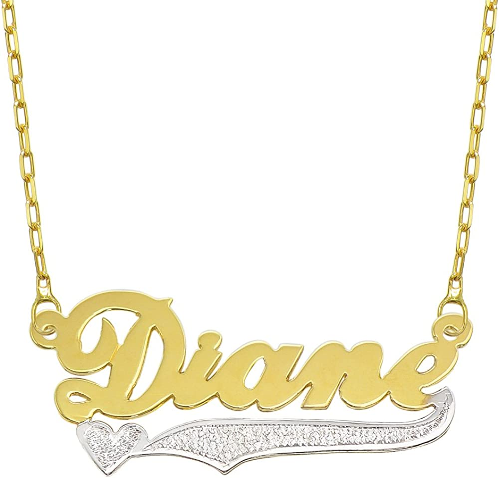 Pyramid Jewelry 14K Two Tone Gold Personalized Name Plate Necklace - Style 9 - Customize Any Name