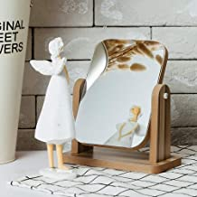 Wooden Vanity Mirror, 360 Degree Rotation HD Makeup Mirror, Suitable for Desktop, Bedroom, Dressing Table (Color : A, Size : S)