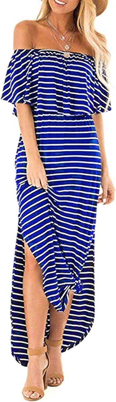 ESULOMP Women's Tube Top Maxi Dress Summer Casual One Shoulder Stripe Printing Sleeveless Loose Long Dresses