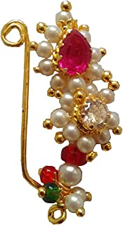 Pink And White Colour Stone Along With Pearl Beads Maharashrian Nath Nose Ring For Women