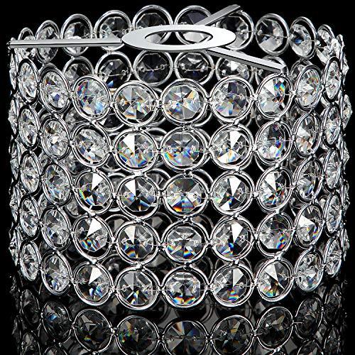 Kristall Lampenschirm Decken Licht Schatten Zubehör für Wohnzimmer, Schlafzimmer und Bad, Warm Weiß, Birne nicht Enthalten (Silber, 7 x 7 x 4,3 Zoll)