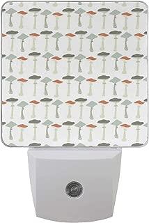 Pattern with Pale Colored Boletus Porcini Amanita Toadstools Retro Organic Food Auto Sensor LED Dusk to Dawn Night Light Plug in Indoor for Bedroom Bathroom Kitchen Hallway