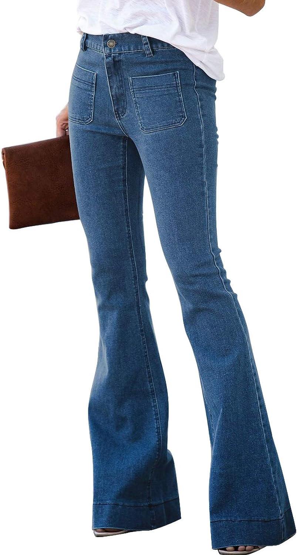 60s Pants, Jeans, Hippie, Flares, Jumpsuits Sidefeel Women Destoryed Flare Jeans Elastic Waist Bell Bottom Raw Hem Denim Pants  AT vintagedancer.com