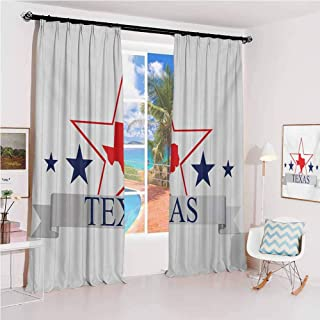 Texas Star Pleated curtains with blackout and lining San Antonio Dallas Houston Austin Map with Stars Pattern USA Used for Living room bedroom with sliding door patio door W52 x L95 Inch Navy Blue Ve