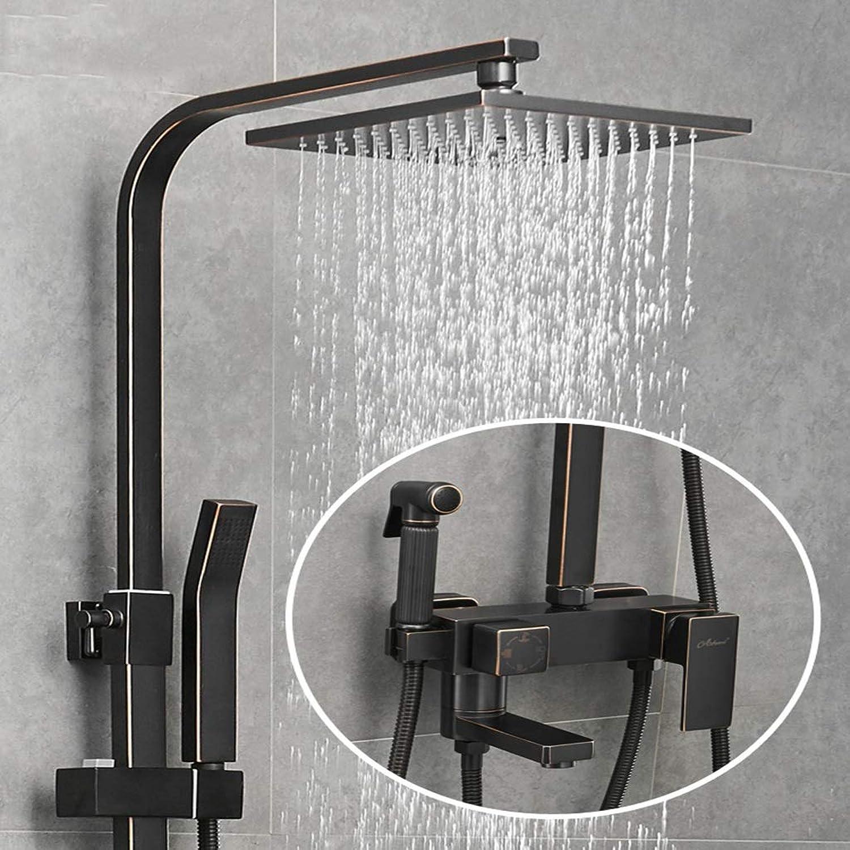 LXFMD Schwarze Dusche Set Air Booster Dusche Platz nordischen Regendusche Kupfer Wasserhahn gesetzt