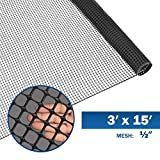 Fencer Wire Black Plastic Poultry Netting Animal & Garden Fence Recyclable Plastic Barrier Environmental Protection Mesh 0.5' x 0.5' (3 ft. x 15 ft.)