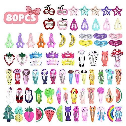 VCOSTORE 80 piezas Clips de dibujos animados Clips para el cabello a presión bonitos Broches de metal a presión Clips de estilo múltiple Accesorios para el cabello para niña