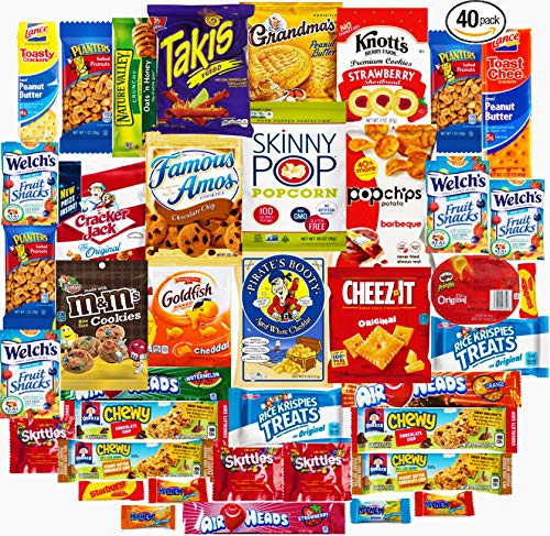 Ultimate Sampler Care Package (40 Count) - Halloween Package, Trick or Treat Snacks, Chips, Cookies, Bars, Candies, Nuts Gift Box, Office, Meetings, School,Friends & Family, Military,College Student
