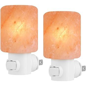 Syntus 2 Pack Himalayan Salt Lamp Natural Crystal Salt Light Glow Hand Carved Night Lights Wall light, UL Listed Plug for Lighting, Decoration and Air Purifying