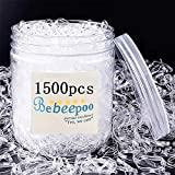 Clear Elastic Hair Bands,BEBEEPOO 1500pcs Mini Hair Rubber Bands with a Box/Bag, Soft Hair Elastics Ties Bands 2mm in Width and 30mm in Length-Hair Elastics - STRONG - REUSEABLE (box)