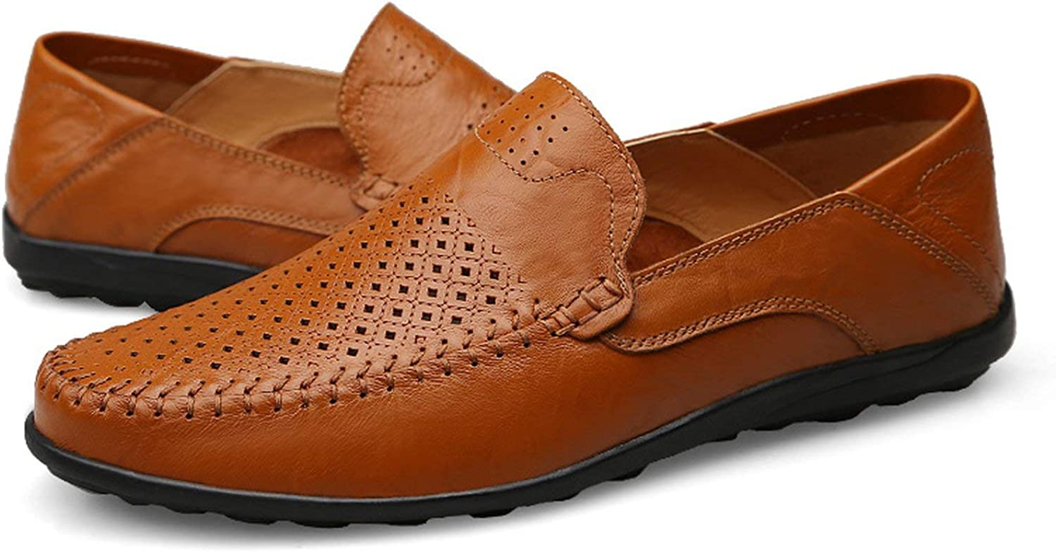 ALWAYS ME Summer Casual Genuine Leather Loafers Moccasins Slip on Mens Driving shoes Large Size