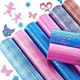 8 Pieces Holographic Heat Transfer Vinyl Sheets Adhesive Laser Heat Transfer Vinyl Multiple Colour Iron on Vinyl Sheets for Cutting Machine, Home Iron of DIY T-Shirt Craft Material, 12 x 10 Inches