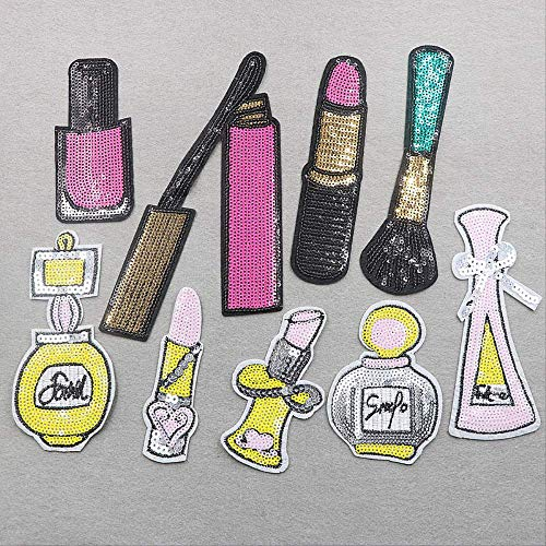 A/N Patches Zum Aufbügeln, Patch Sticke Aufnäher, Pailletten Perlen Parfüm Lippenstift (9 Stück)...