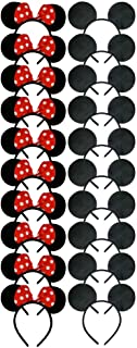 CHuangQi 20 PCS Mouse Ears Headband Solid Black Ears & Red Bow with Polka Dots, Hair Accessories for Boys & Girls Birthday...