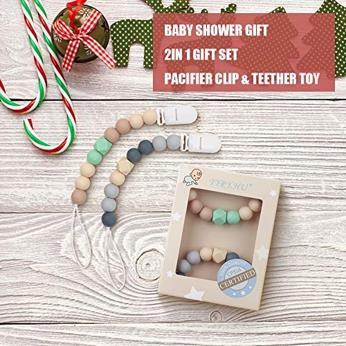 Pacifier Clip Baby Boys Silicone Paci Clip Teething Relief Teether Toy Soothie Binky Holder BPA Free Chewbeads Birthday Christmas Shower Gift Set of 2 (Beige, Grey)