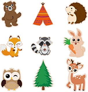 WERNNSAI Woodland Creatures Centerpieces - 18 PCS Double-sided Cutouts Woodland Party Decorations Forest Animal Painted Ca...