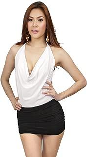 Womens Dual Tone Cowl Neck Halterneck Mini Dress