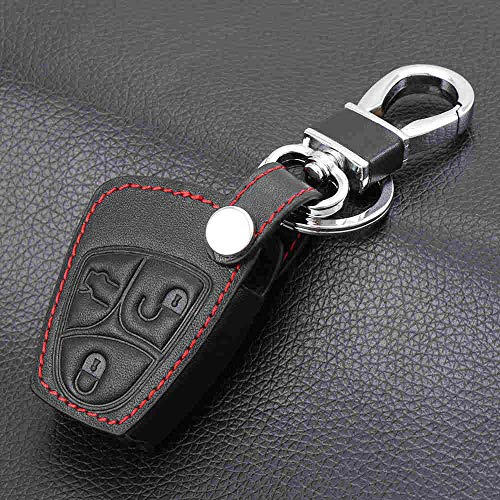 GFHDGTH rundleer sleutelhouder cover portemonnee set tas sleutelring, Geschikt voor Mercedes benz Klasse A C E S ML CLK SLK Oude fob remote accessoires 3 buttons black