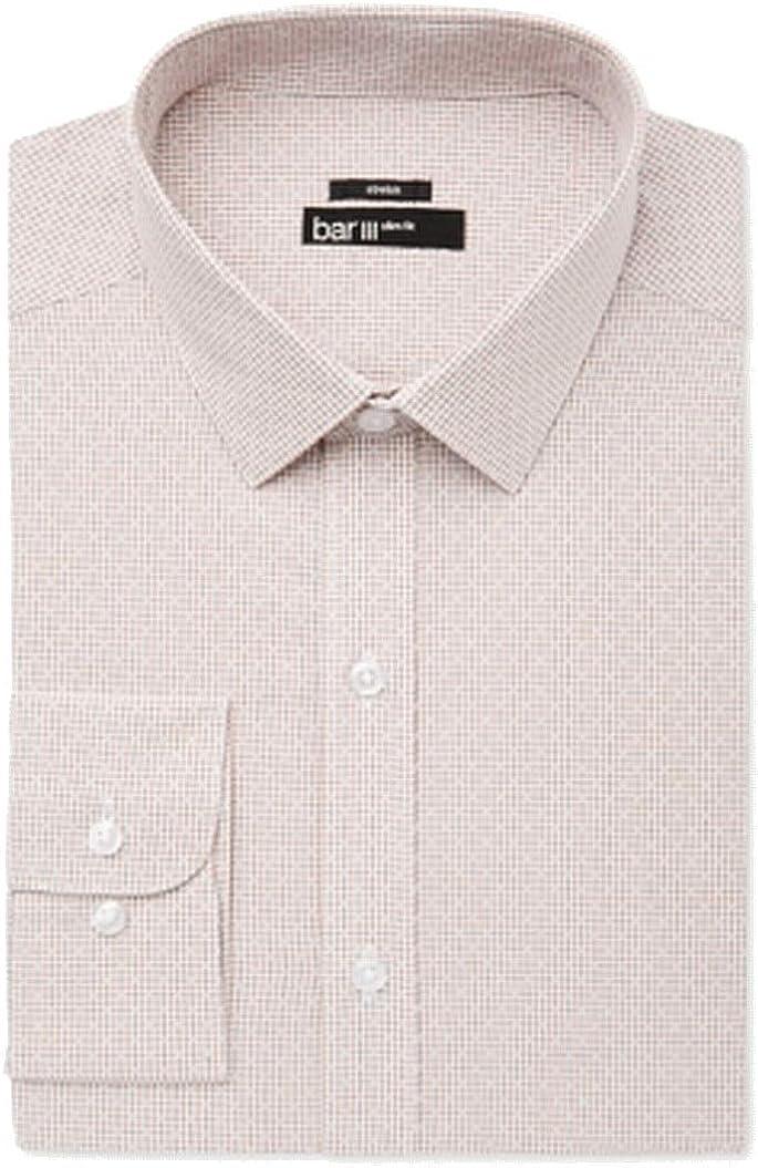 bar III Mens Windowpane Button Up Dress Shirt