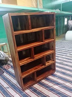G Fine Furniture Wooden Bookshelf Furniture for Living Room | Open Bookcases Shelves | 5 Shelf Storage | Sheesham Wood, Brown