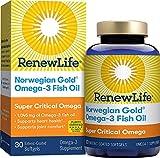 Renew Life Norwegian Gold Adult Fish Oil - Super Critical Omega, Fish Oil Omega-3 Supplement - Gluten & Dairy Free - 30 Burp-Free Softgel Capsules