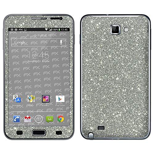 atFolix Skin kompatibel mit Samsung Galaxy Note GT-N7000, Designfolie Sticker (FX-Glitter-Sterling-Silver), Reflektierende Glitzerfolie