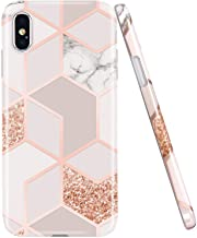 JAHOLAN Compatible iPhone X Case iPhone Xs Stylish Shiny Rose Gold Marble Design Clear Bumper Glossy TPU Soft Rubber Silic...