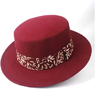 PengCheng Pang New Men Women Flat FedoraTop Hat with Ribbon Winter Jazz Hat Wide Brim Pork Pie Hat Friend Party Church Hat Size 56-58CM (Color : Wine red, Size : 56-58)